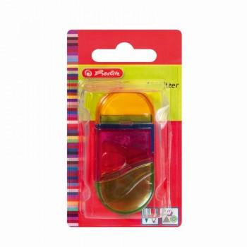 Ascutitoare+radiera plastic ovala 2 in 1 diverse culori/blister