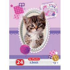 Caiet a5 24 file tip I, motiv pretty pets premium
