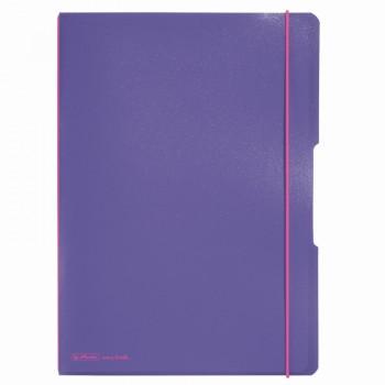 Caiet my.Book flex a4 2x40f 70gr dictando+patratele violet transparent cu logo roz