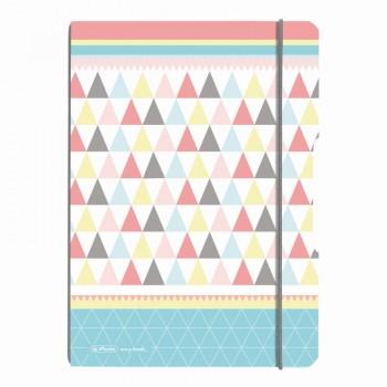 Caiet my.Book flex a4 2x40f 80gr dictando+patratele, coperta pp, graphic pastels mix