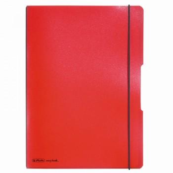 Caiet my.Book flex a4 40f 70gr dictando rosu transparent cu logo negru