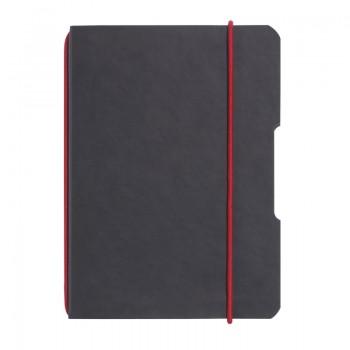 Caiet my.Book flex a4 40 file patratele perforat coperta din imitatie de piele neagra elastic rosu