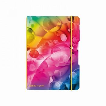 Caiet my.Book flex a5 40f 70gr patratele bubbles cu elastic galben
