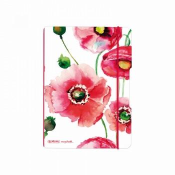 Caiet my.Book flex a5 40f 70gr patratele maci cu elastic rosu
