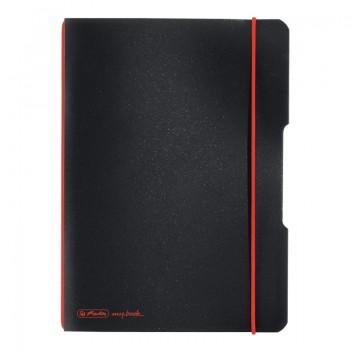 Caiet my.Book flex a5 40f 70gr patratele negru cu logo rosu
