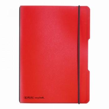 Caiet my.Book flex a5 40f 70gr patratele rosu transparent cu logo negru
