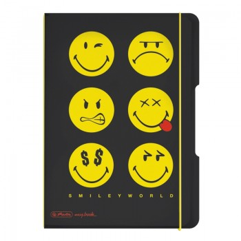 Caiet my.Book flex a5 40f 80gr patratele smiley world black
