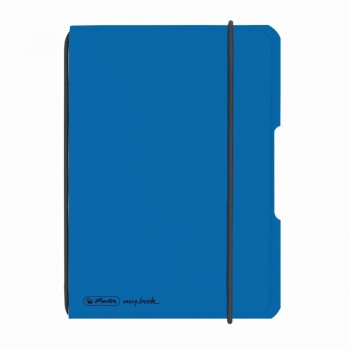 Caiet my.Book flex a6 40f 70gr patratele albastru deschis transparent cu logo negru