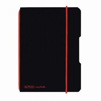 Caiet my.Book flex a6 40f 70gr patratele negru cu logo rosu