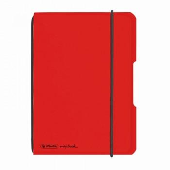 Caiet my.Book flex a6 40f 70gr patratele transparent rosu cu logo negru