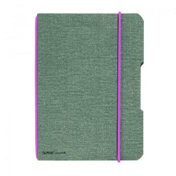 Caiet my.Book flex a6 40 file patratele coperta din panza gri elastic roz