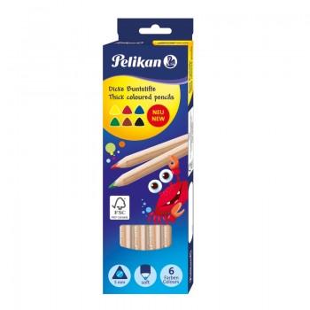 Creioane colorate set 6 buc, triunghiulare, groase