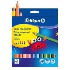 Creioane color jumbo , set 12 culori + ascutitoare