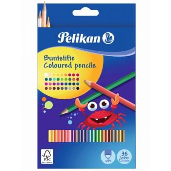 Creioane color lacuite, set 36 culori, sectiune hexagonala