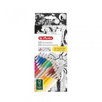 Creioane color triunghiulare zentangle set 24 bucati, include auriu si argintiu