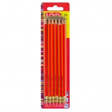 Creioane grafit cu radiera mina hb lacuite rosu set 24
