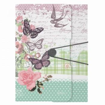 Dosar mapa a4 pp inchidere cu elastic motiv ladylike butterfly