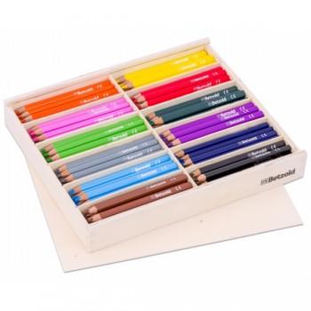 Creioane colorate in cutie de lemn cu capac 144 buc
